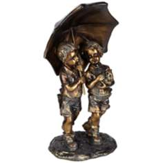 Kids with Umbrella Bronze Sculpture