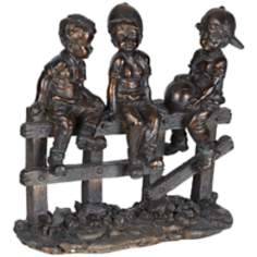Kids on Fence Bronze Sculpture