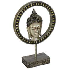 Silver Buddha Head in Circle Sculpture