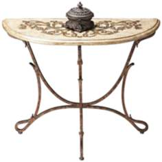 Metalworks Bronze Demilune Console Table