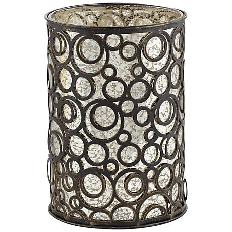 Bettina Circles Bronze Metal Pillar Candle Holder