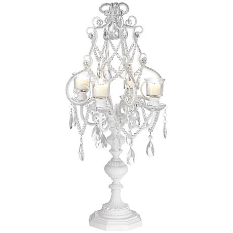 "Camille White 26"" High 4 Taper Candelabra Candle Holder"