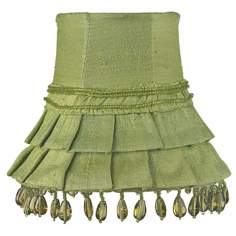Green Silk Beaded Shade 3x5x4.25 (Clip-On)