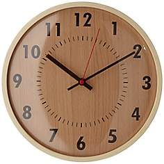 "Oak And Brown Pine Wood 11 1/2"" Round Wall Clock"