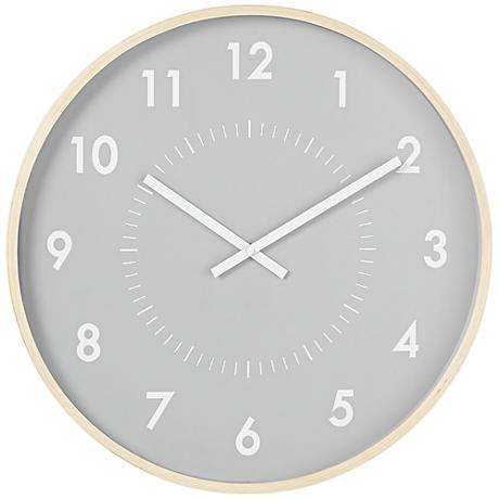 "Gray And White Modern 20"" Round Wall Clock"