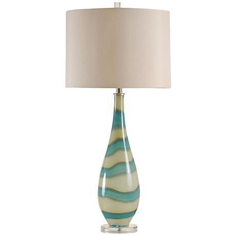 Amelie Turquoise And Sand Glass Contemporary Table Lamp