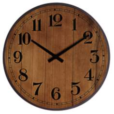 "Maybury 19 1/2"" Maple Round Wall Clock"