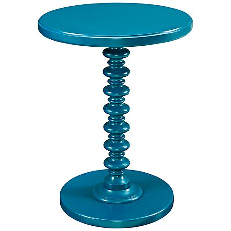 Blue Teal Spindle Round Accent Table