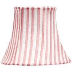 Pink And White Striped Bell Lamp Shade 3x5x4.5 (Clip-On)