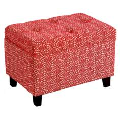 Red Pattern Tufted Rectangular Storage Ottoman