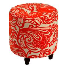 Small Orange Paisley Print Round Tufted Ottoman