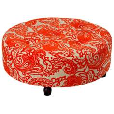 Large Orange Paisley Print Round Tufted Ottoman
