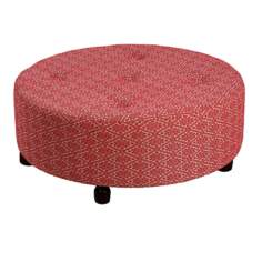 Large Red Diamond Print Round Tufted Ottoman