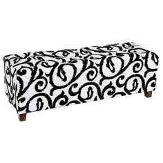 Scroll Leaf Black and White Tufted Ottoman