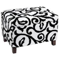 Black and White Rectangular Tufted Storage Ottoman