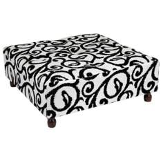 Scroll Square Wooden Leg Tufted Ottoman
