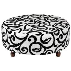 Scroll Round Wooden Leg Tufted Ottoman