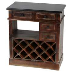 10-Bottle Wood Wine Holder Console