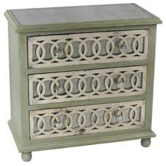 Circle Pattern 3-Drawer Distressed Wood Chest