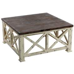 X Pattern Distressed Wood Square Coffee Table