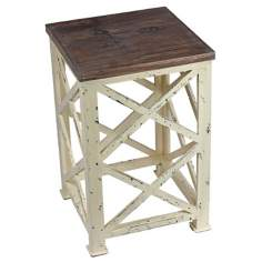 X Pattern Distressed Wood Square Side Table