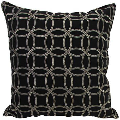 "Embroidered Circles Black 18"" Square Throw Pillow"