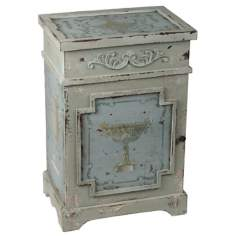 French Painted Urn Distressed Side Table
