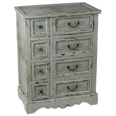 French Distressed Gray Wash Wood 8-Drawer Chest