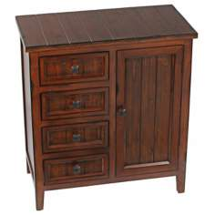 4-Drawer 1-Door Wood Chest