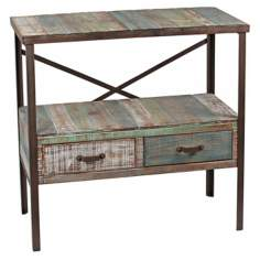 Distressed Paint 2-Drawer Sofa Table