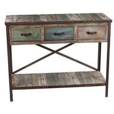 Distressed Paint 3-Drawer Sofa Table