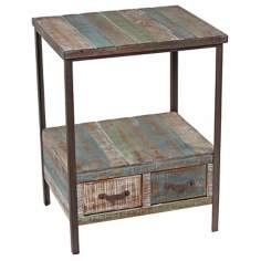 Distressed Paint 2-Drawer 2-Shelf Side Table