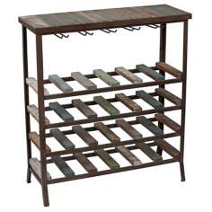 24-Bottle Wood and Metal Wine Storage Rack