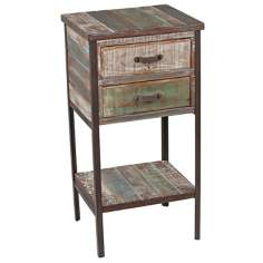 Distressed Paint 2-Drawer 1-Shelf Side Table