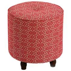 Small Red Diamond Print Round Tufted Ottoman