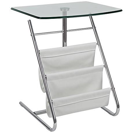 Bob Modern White Magazine Stand and Side Table