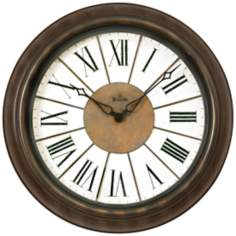 "Bulova Newington 18"" Round Antique Bronze Wall Clock"