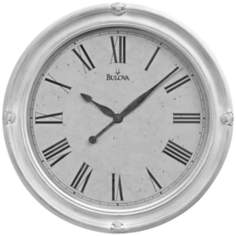 "Bulova Hazelton 27 1/2"" Round Antique White Wall Clock"