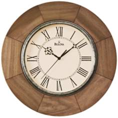 "Bulova Dakota 14"" Round Wooden Wall Clock"