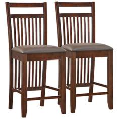 Set of 2 Chocolate Wood Slat Back Counter Stools