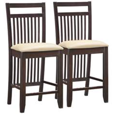 Set of 2 Cream Wood Slat Back Counter Stools
