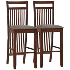Set of 2 Chocolate Wood Slat Back Bar Stools