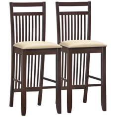Set of 2 Cream Wood Slat Back Bar Stools