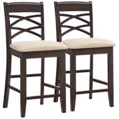 Set of 2 Beige Crossback Counter Stools