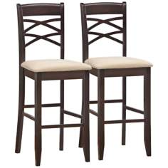 Set of 2 Beige Crossback Bar Stools
