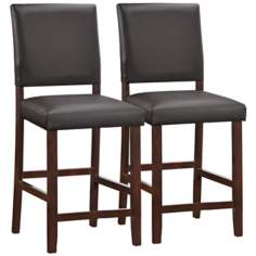 Set of 2 Ebony Upholstered Back Counter Stools