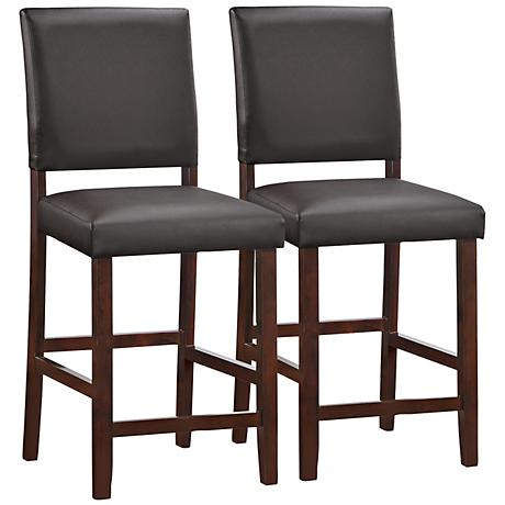 "Leick 24"" Pebble Ebony Faux Leather Counter Stools Set of 2"