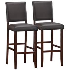Set of 2 Ebony Upholstered Back Bar Stools