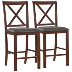 Set of 2 Ebony Crossback Counter Stools