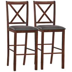 Set of 2 Ebony Crossback Bar Stools